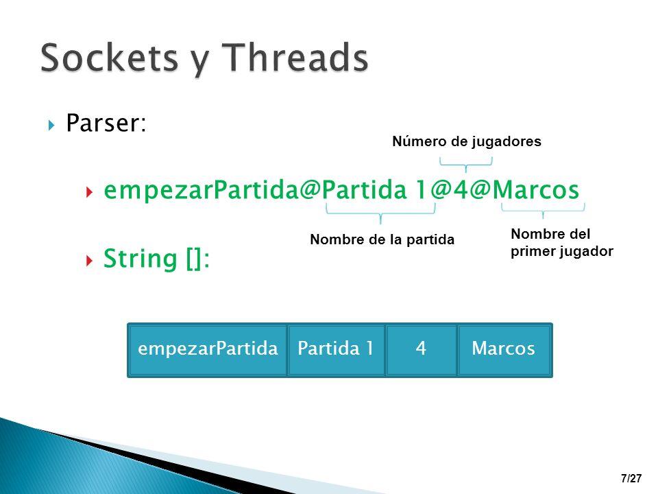 Sockets y Threads empezarPartida@Partida 1@4@Marcos String []: Parser: